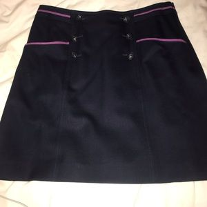 Brook Brothers Navy Pencil Skirt with Buttons